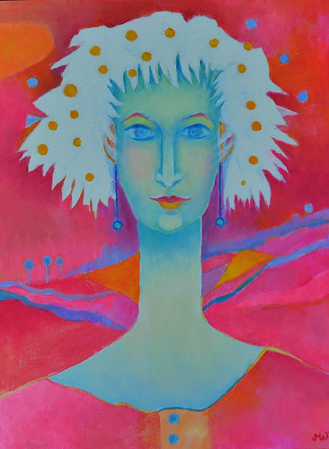 Amazon com original paintings for sale artwork woman portrait face oil painting pink wall art on canvas handmade