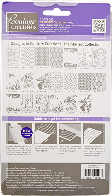 Couture Creations The Marriot Collection Embossing Folder Only One