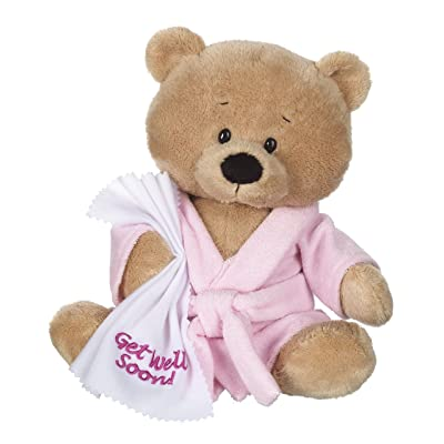 """Ganz 10.5"""" Get Well Teddy with Pink Robe Plush: Toys & Games"""