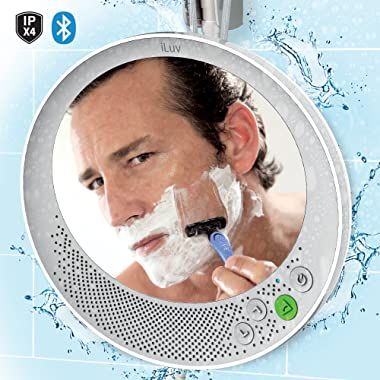 """iLuv Water Resistant Portable Bluetooth Shower Speaker with Large Mirror (6.2""""x 5.3"""") for Easy Viewing, Hands-Free Function, Suction Cup, Flexible Strap and Stand - iPhone, Samsung Phone and More"""