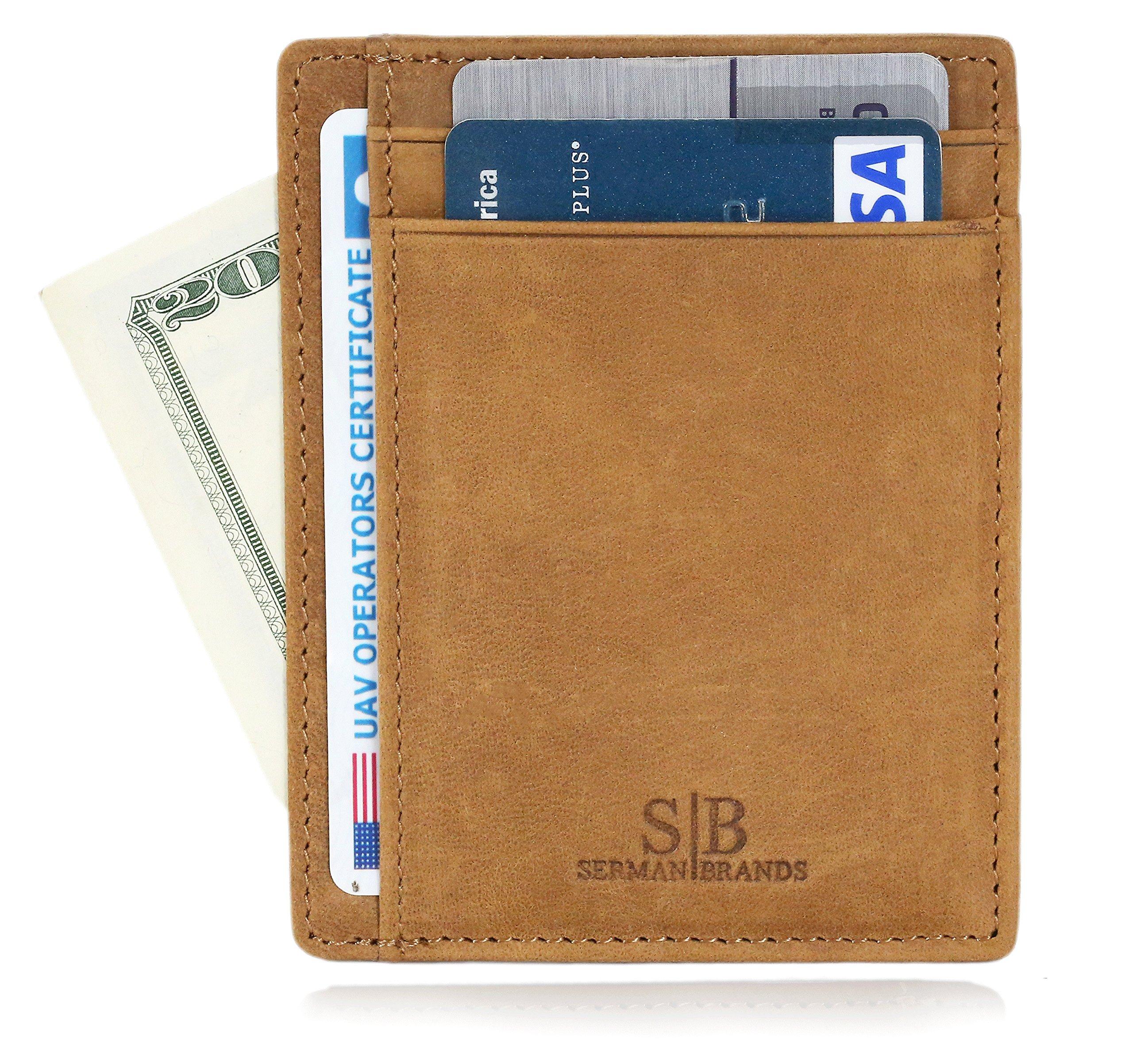 SERMAN BRANDS - Credit Card Holder RFID Blocking Leather Slim Wallet, Minimalist Front Pocket Wallets For Men Made From Full Grain Leather (Camel)