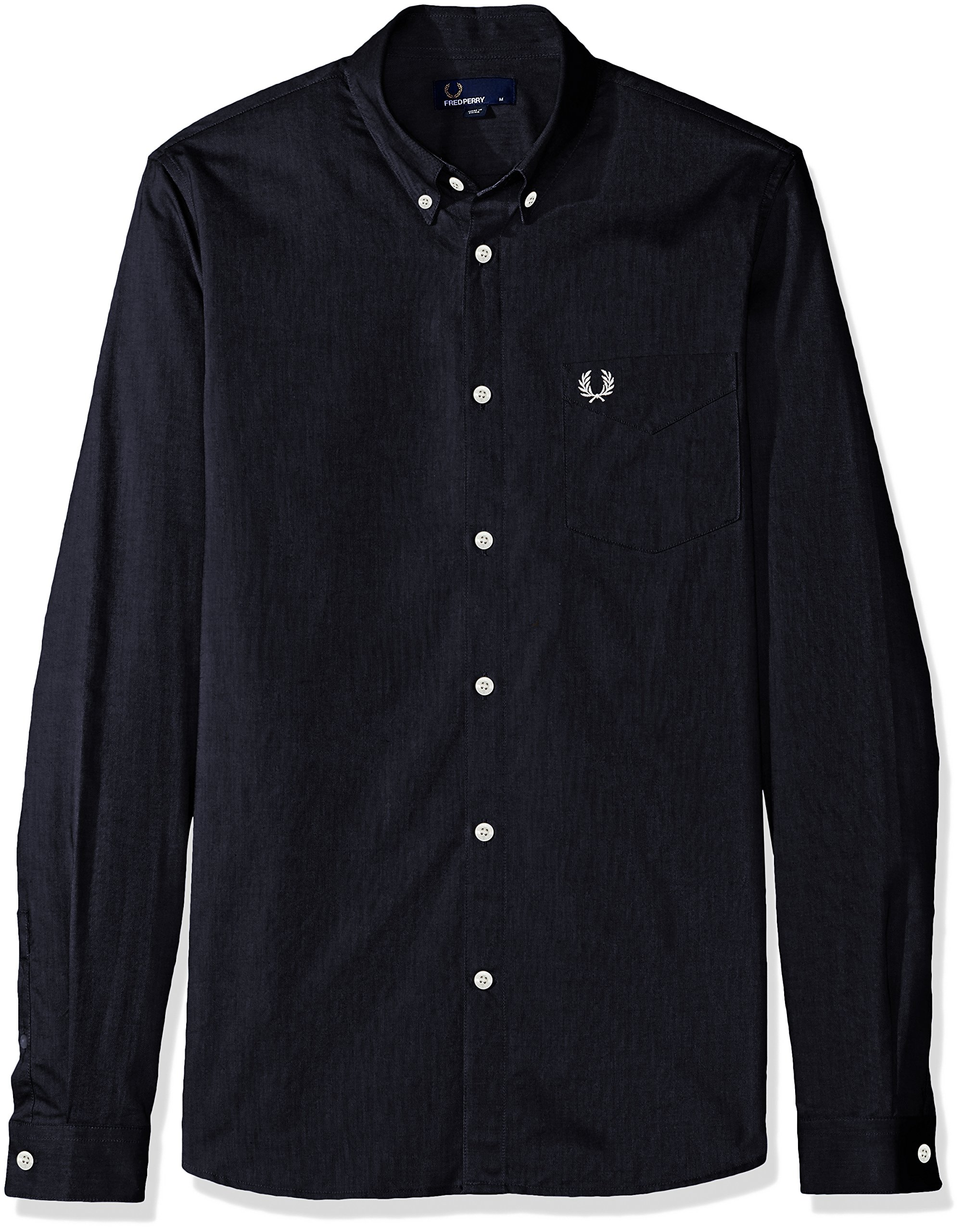 Fred Perry Men's Classic Oxford Long Sleeve Shirt, Black, Large by Fred Perry