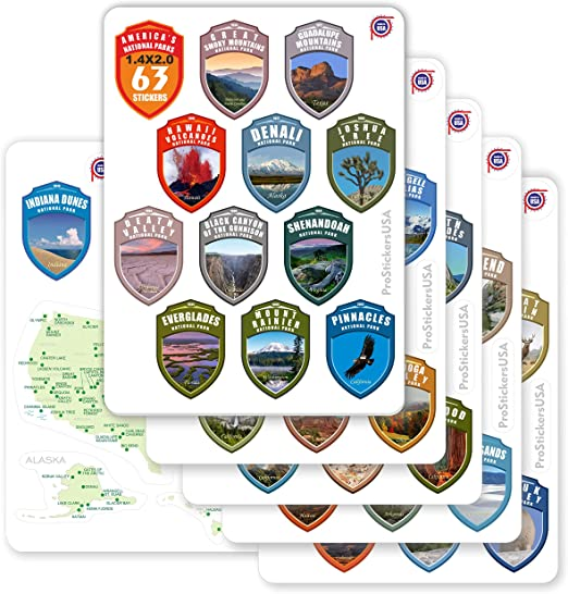 Sheet of 62 hike rv small np scrapbooking set 1.5 inch National Park ARROWHEAD Shaped Stickers