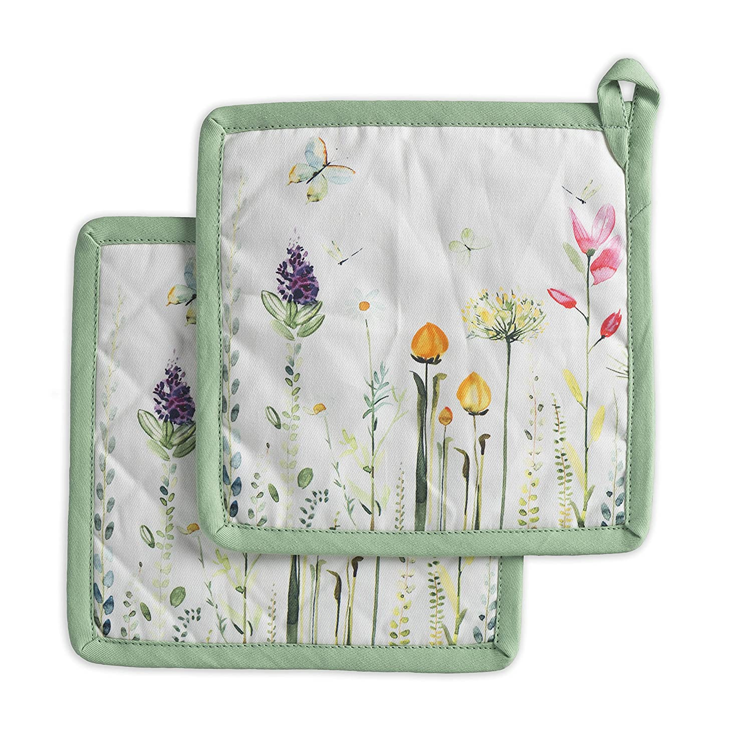 Maison d' Hermine Botanical Fresh 100% Cotton Set of 2 Pot Holders 8 Inch by 8 Inch Aspero