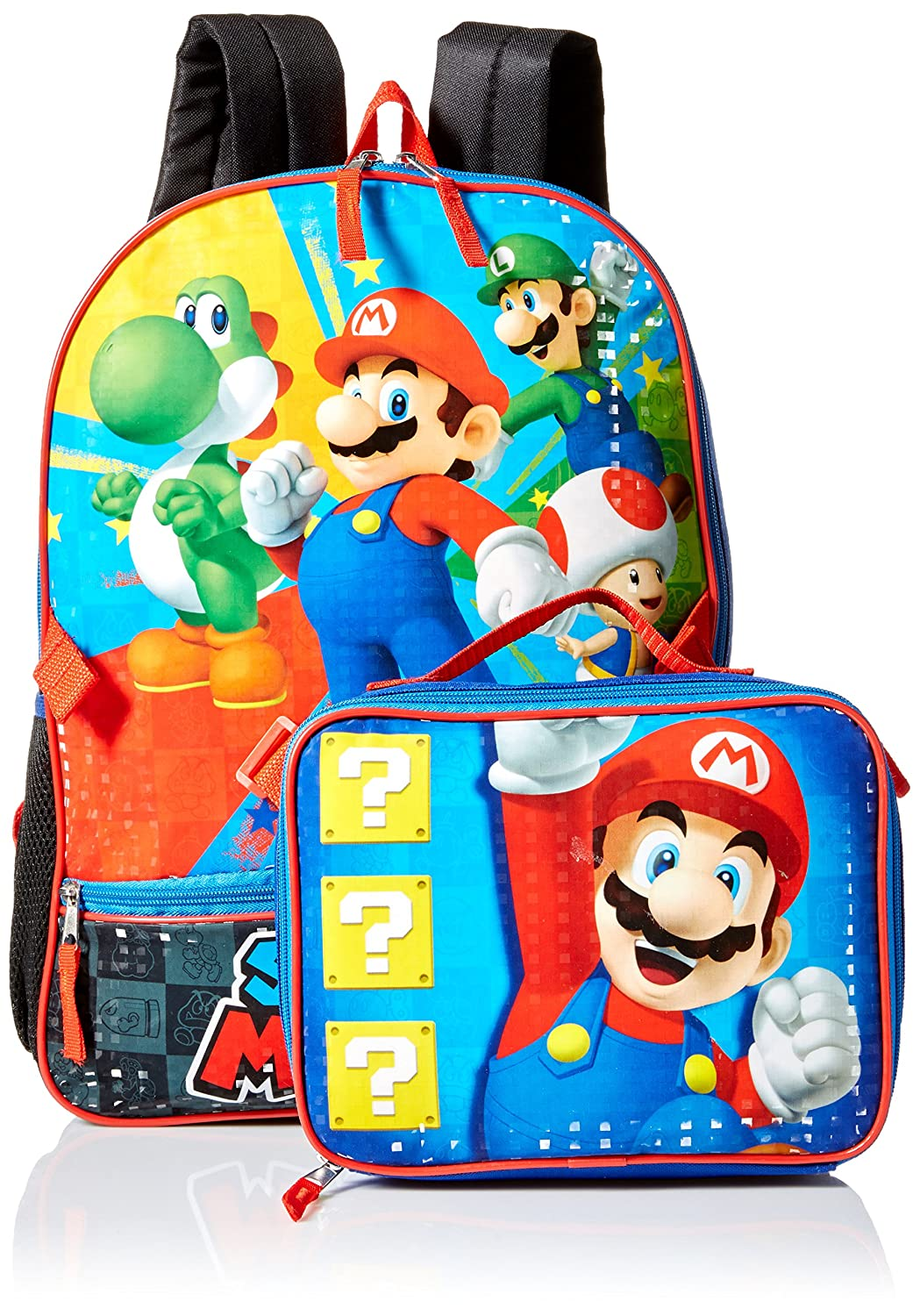 Nintendo Boys' Mario Backpack with Lunch Blue