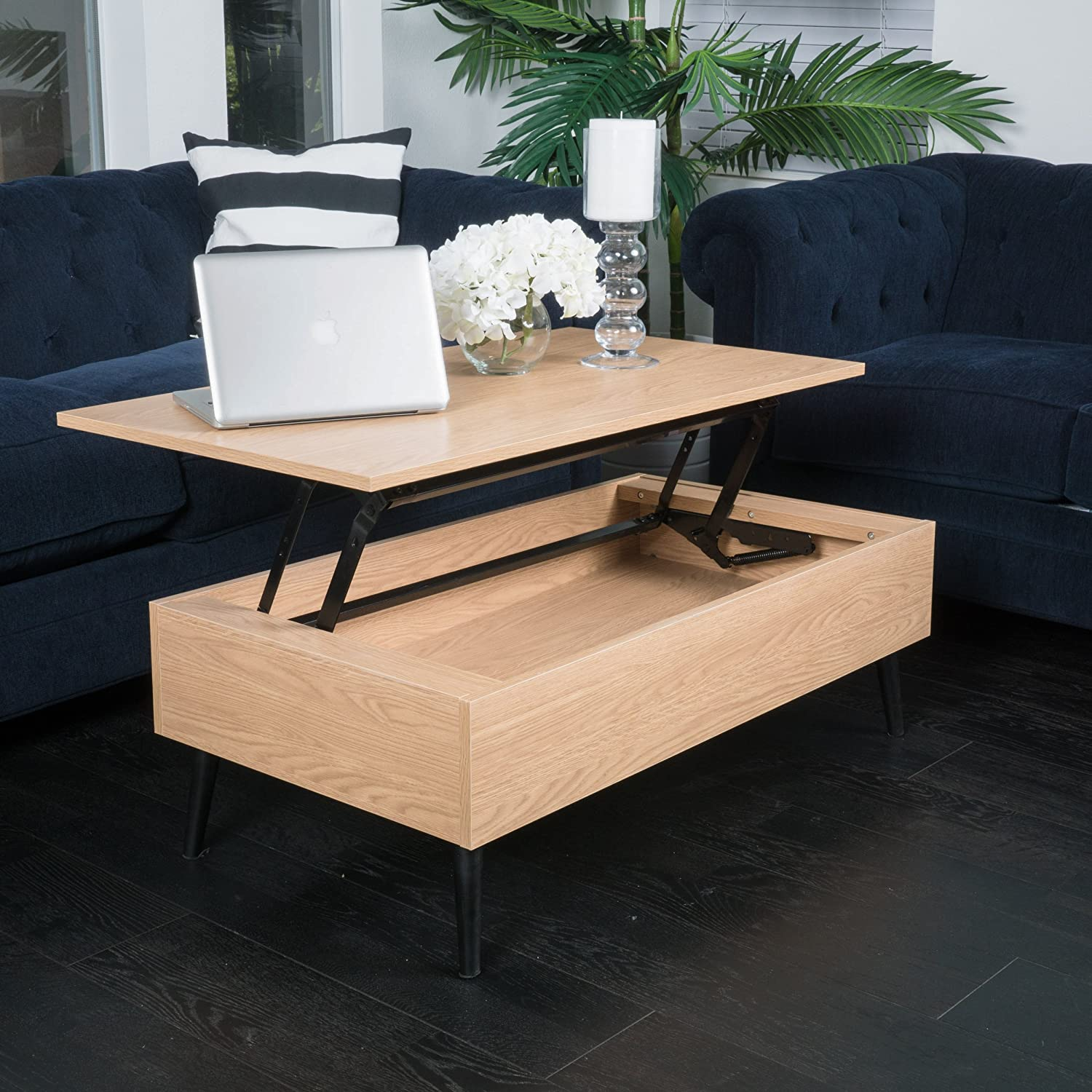 Amazon Caleb Brown Wood Lift Top Storage Coffee Table