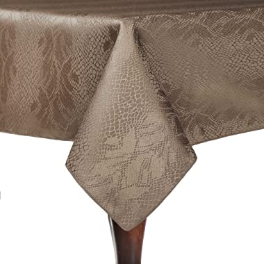Ultimate Textile Modern Christmas Damask Kenya 72 x 72-Inch Square Tablecloth Sand Beige