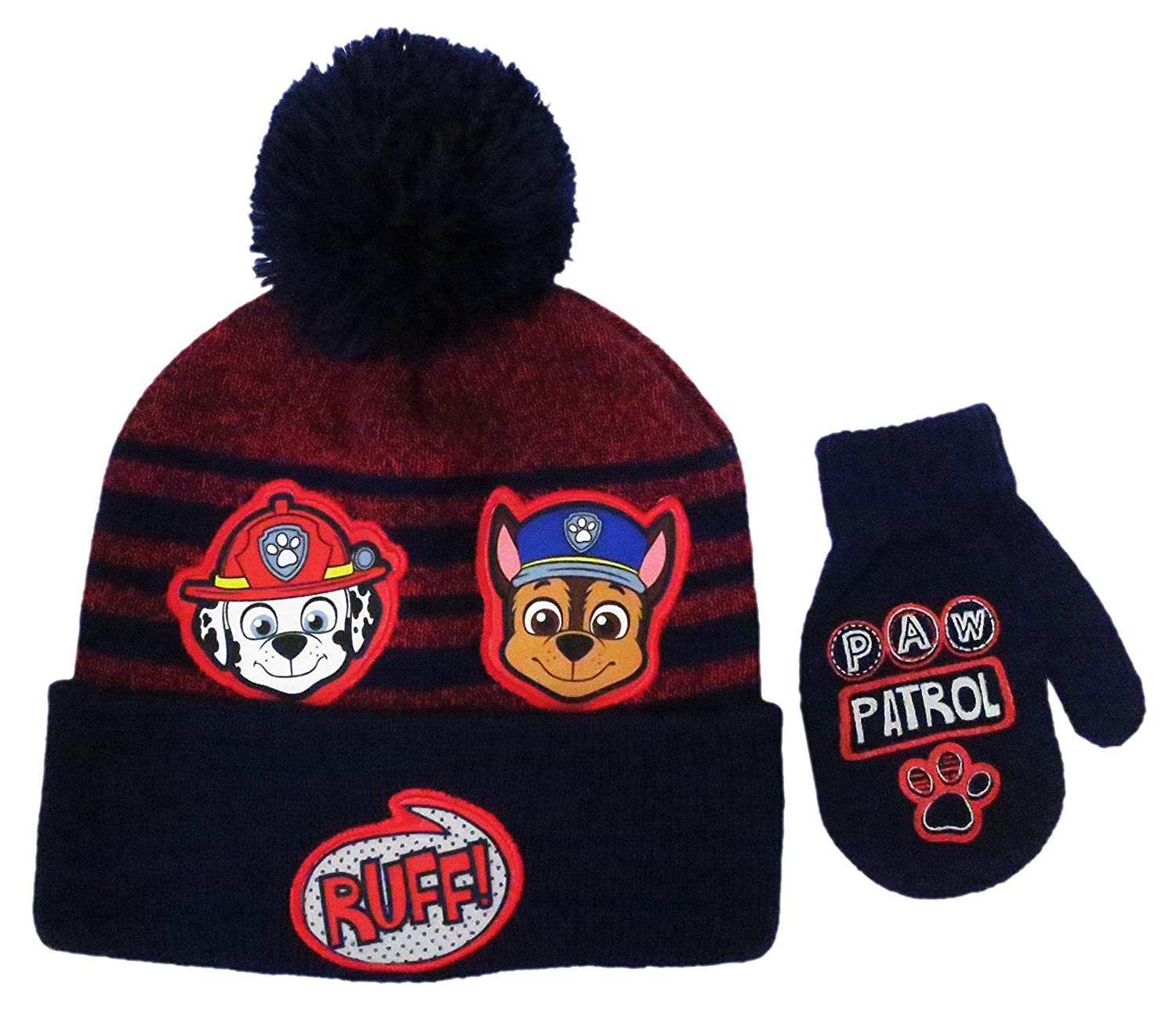 Paw Patrol Boys' Beanie & Mittens Set - navy/multi, one size