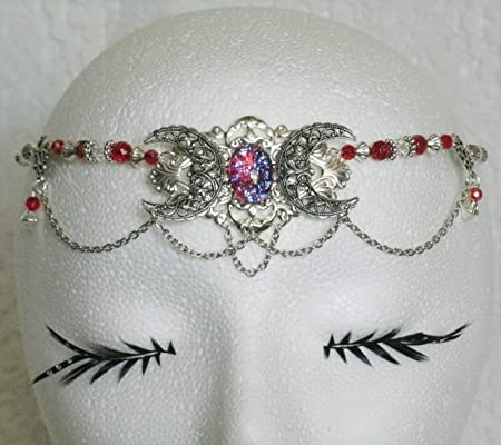Triple Moon Dragons Breath Fire Opal Circlet handmade jewelry wiccan pagan wicca witch witchcraft goddess headpiece