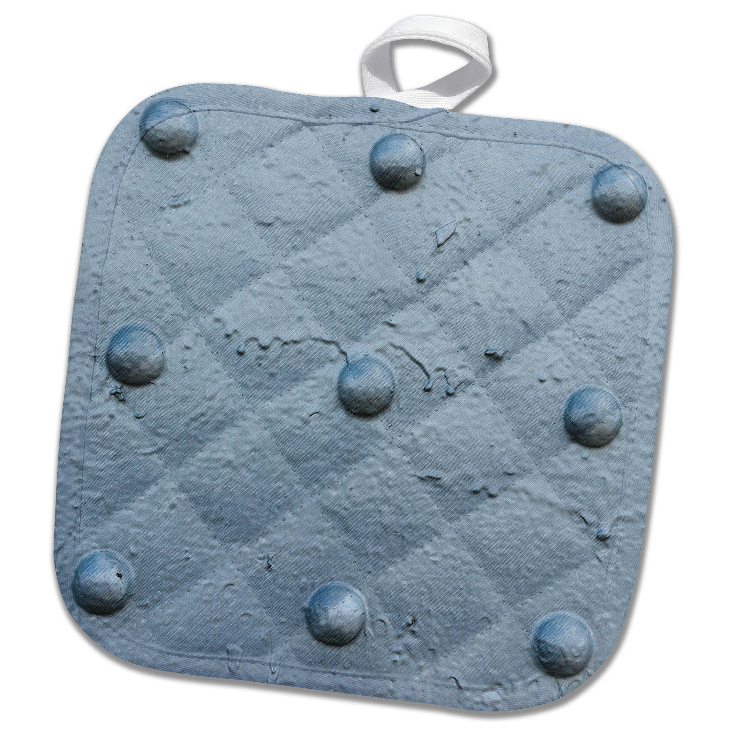 3dRose Alexis Photography - Texture Metal - Metal texture with six rivets painted gray - 8x8 Potholder (phl_271987_1)