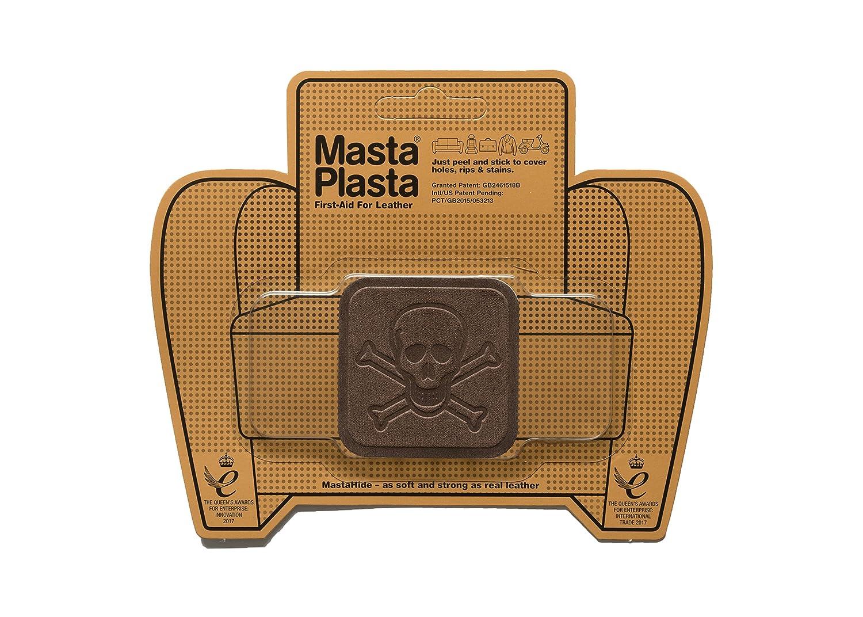 MastaPlasta Parches de reparación de ante autoadhesivos, color marrón. Elige el tamaño/diseño. Primeros auxilios para sofás, asientos de coche, bolsos, chaquetas, etc., marrón, BROWN SUEDE PIRATE 5cmx5cm MastaPlasta Ltd