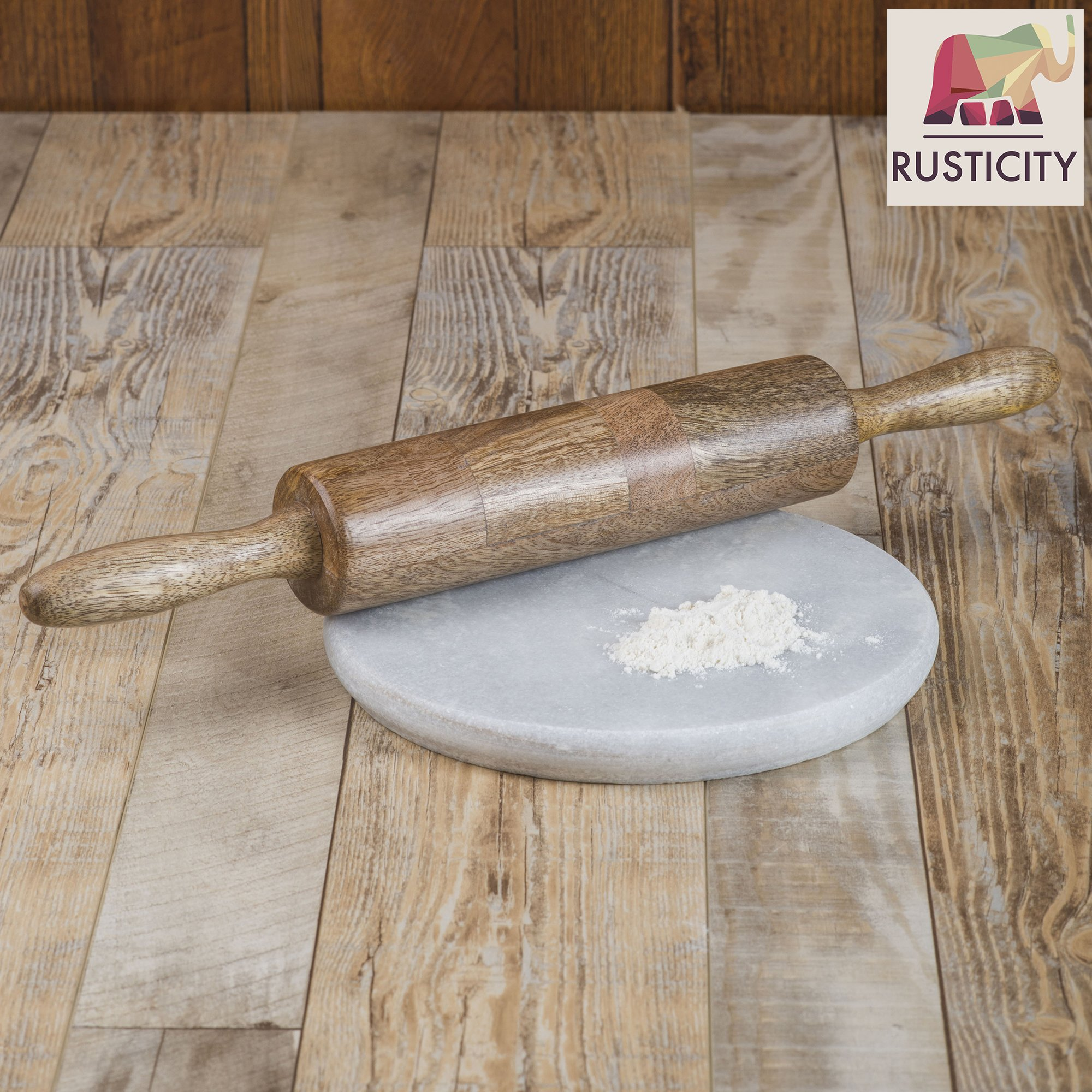 Rusticity Wood Rolling Pin Ideal for Baking Needs - Used by Bakers & Cooks for Pasta, Cookie Dough, Pastry, Bakery, Pizza, Fondant, Chapati | Acacia Wood | Handmade | (18 X2 in) by Rusticity (Image #6)