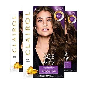 Clairol Age Defy Permanent Hair Color, 4 Dark Brown, Pack of 3 (Packaging May Vary)