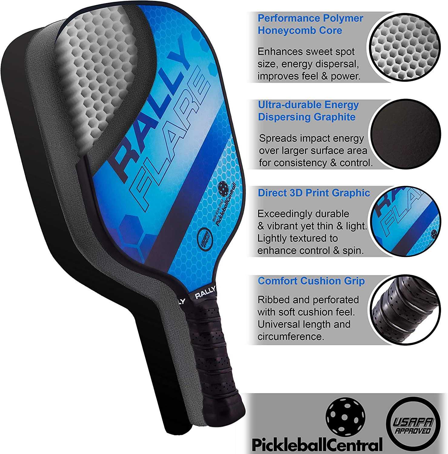 Rally Flare Graphite Pickleball Paddle | Polymer Honeycomb Core, Graphite Hybrid Composite Face | Lightweight