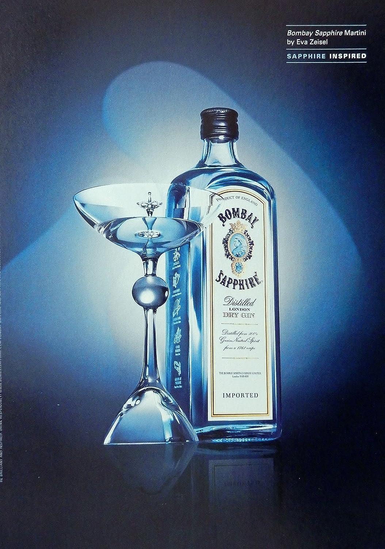 Bombay Sapphire Vintage Print Ad Color Illustration Martini By Eva Zeisel Original Magazine Art Posters Prints