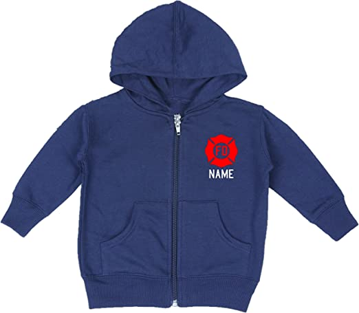 Fully Involved Stitching Personalized Firefighter Baby Hoodie