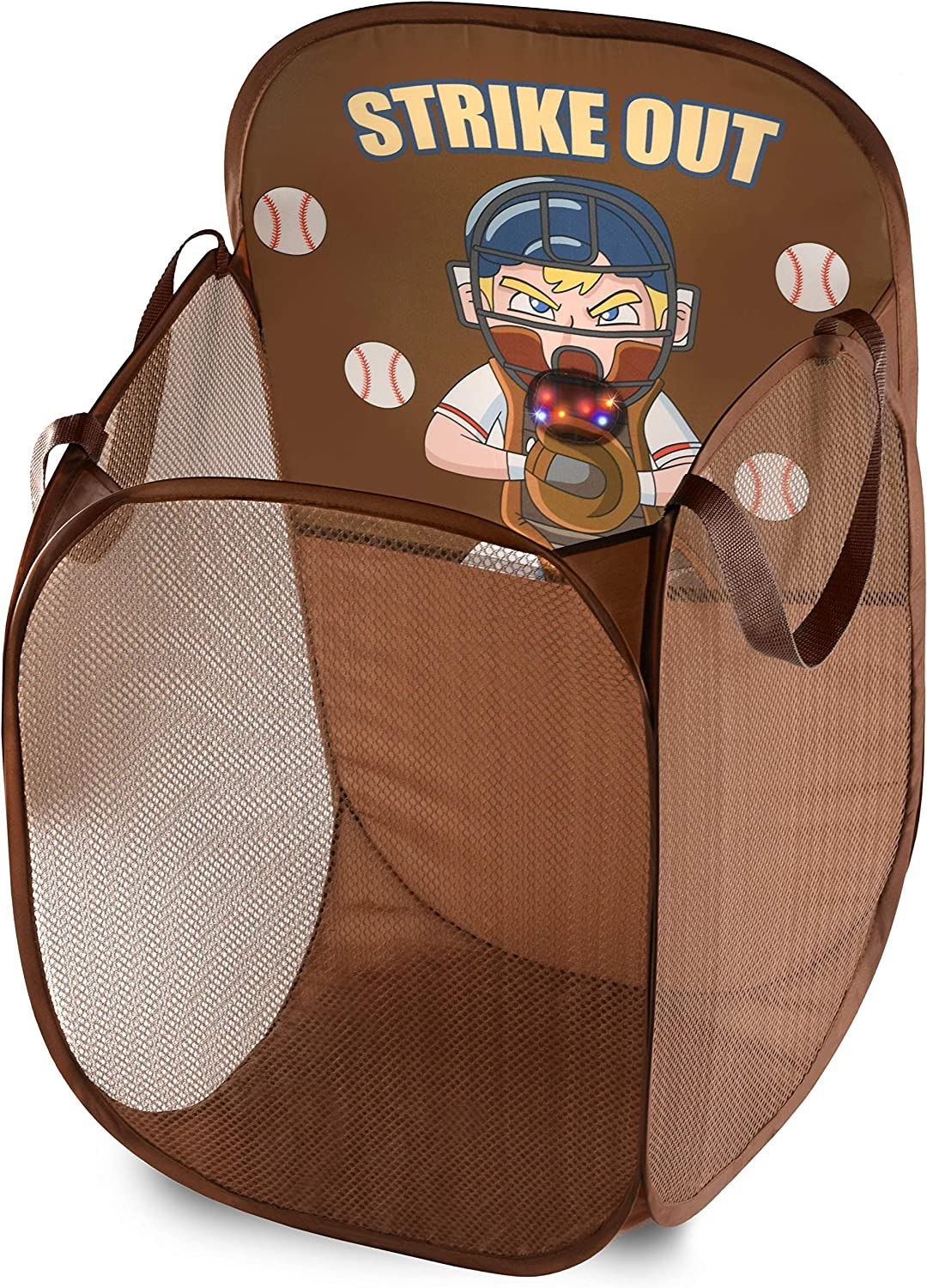 Kids Fun LED Baseball Light-Up Mesh Pop-up Hamper, Collapsible Space Saving and Easy to Store, Reinforced Heavy Duty Side Carry Handles