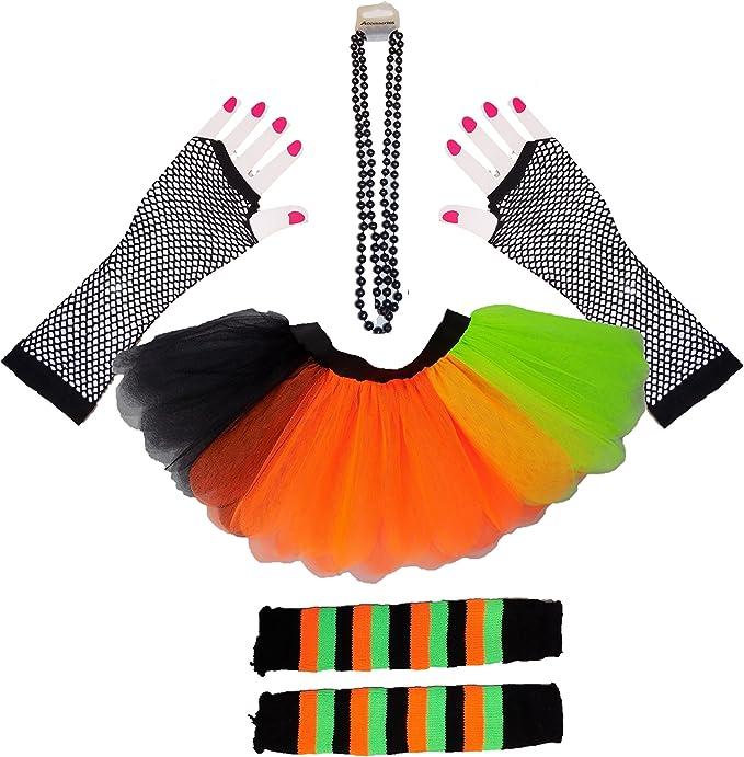 Halloween 80s Fancy Dress Neon Tutu SKIRT Orange Green Black Legwarmers Gloves