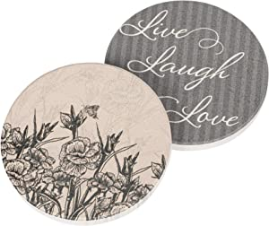 Live Laugh Love Stencil Flowers 2.75 x 2.75 Absorbent Ceramic Car Coasters Pack of 2