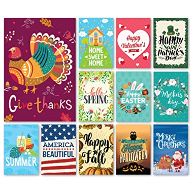 Happy Yard Seasonal Garden Flag Set Outdoors | Set of 12 Artistically Designed Flags | 12-inch x 18-inch | Holiday Themed, Durable & Double-Sided