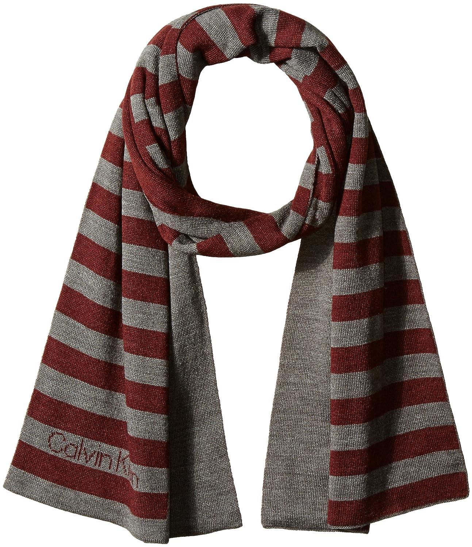 Calvin Klein mens standard Logo Stripe Muffler Scarf Black One Size Calvin Klein Neckties HKC63641-001