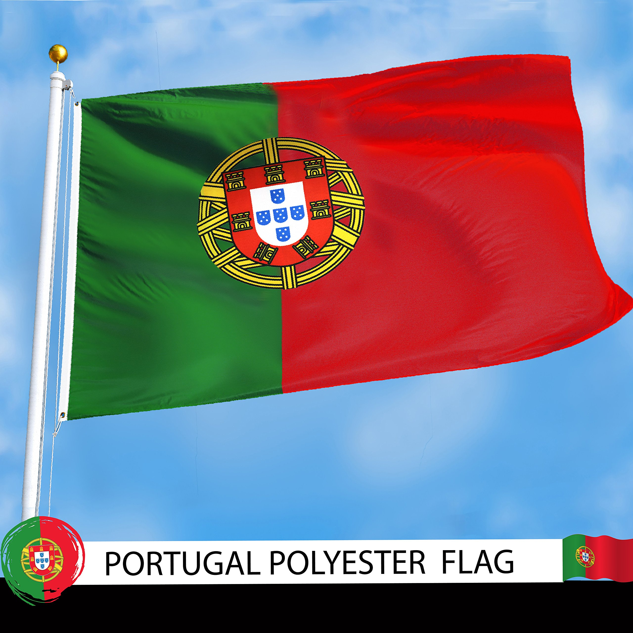 G128 - Portugal Portuguese Flag 3x5 ft Printed Brass Grommets 150D Quality Polyester Flag Indoor/Outdoor - Much Thicker and More Durable than 100D and 75D Polyester