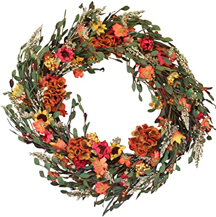 Nashua Blossom Fall Front Door Wreath 22 Inches   Lush Beautiful Autumn  Colors, Approved Covered