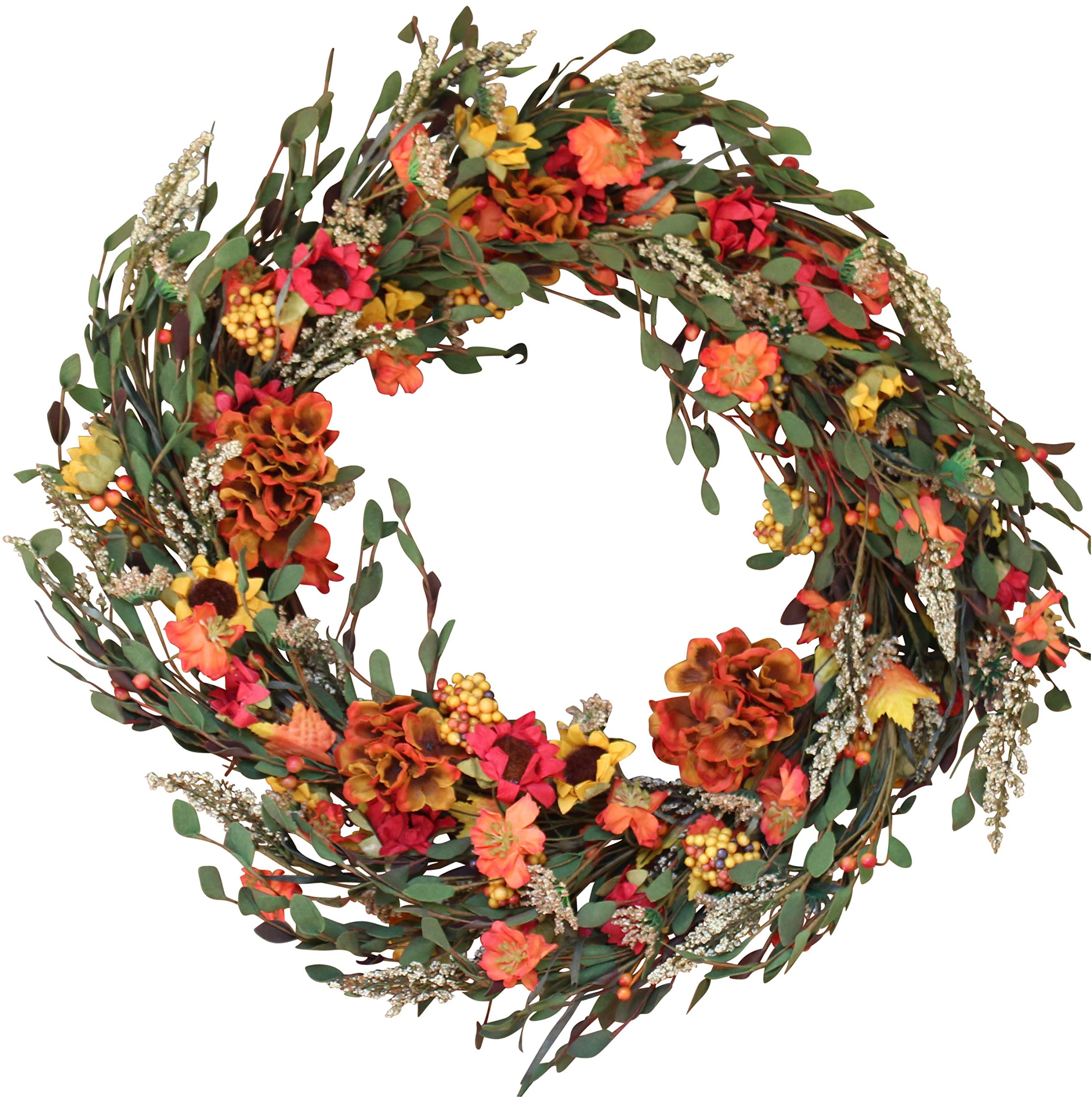 Nashua Blossom Fall Front Door Wreath 22 Inches - Lush and Beautiful Autumn Colors, Approved for Covered Outdoor Use, Beautiful White Gift Box Included by The Wreath Depot