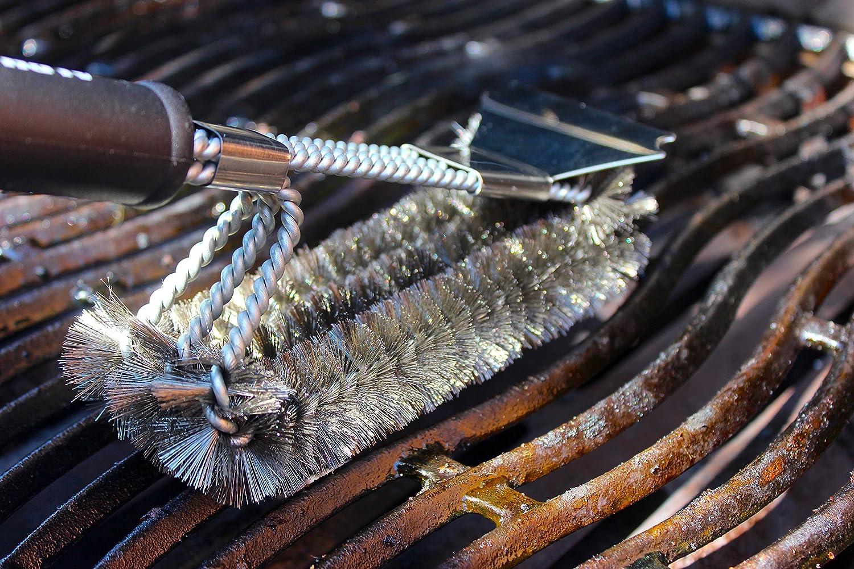 ALPHA GRILL Efficace per Rimuovere Il Grasso da Tutte Le Griglie da Barbecue Spazzola per la Pulizia del Barbecue Setole e Spazzole in Acciaio Inox a Tre Fili Sicure ed Extra Resistenti