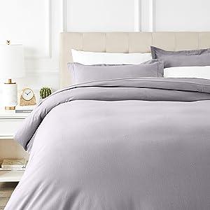 AmazonBasics Everyday Flannel Duvet Cover and 2 Pillow Sham Set - King, Grey
