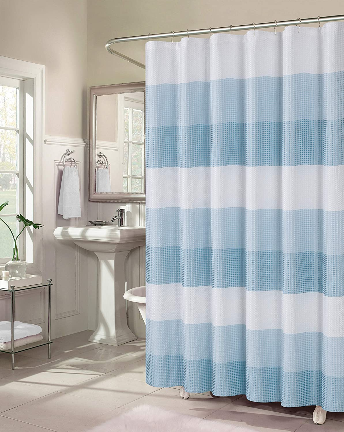 Dainty Home Ombre Waffle Weave Fabric Shower Curtain in Aqua