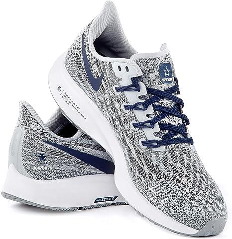 Dallas Cowboys Nike Air Zoom Pegasus 36 Tenis para Correr para Mujer, 8, Gris/Azul Marino/Blanco: Amazon.es: Deportes y aire libre