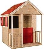 Casetta per bambini in legno per esterno   Taglia M Tipo aperto casa d'avventura estiva con balcone, scaffale giocattolo, persiane, lavagna
