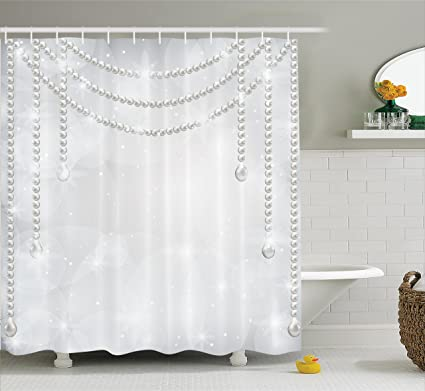 Amazon.com: Pearls Decor Shower Curtain by Ambesonne, Decorative ...