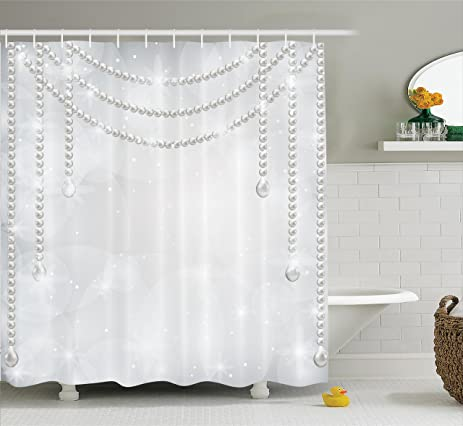 Pearls Decor Shower Curtain By Ambesonne Decorative Diamonds Stones And Hanging Necklace Bridal