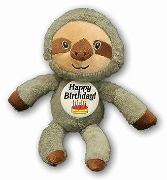 Amazon Com A T Designs Happy Birthday Sloth Stuffed Animal Plush