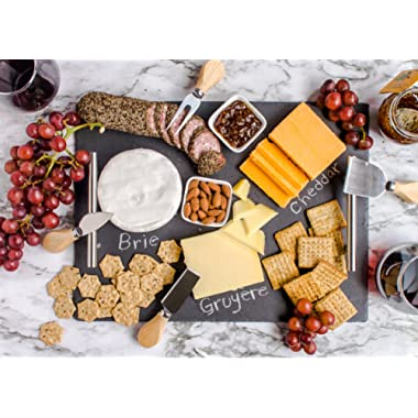 Slate Cheese Board Set | 9 pcs - 16  x 12  Serving Tray, Cheese Knife Set with Ceramic Bowls + Soapstone Chalk