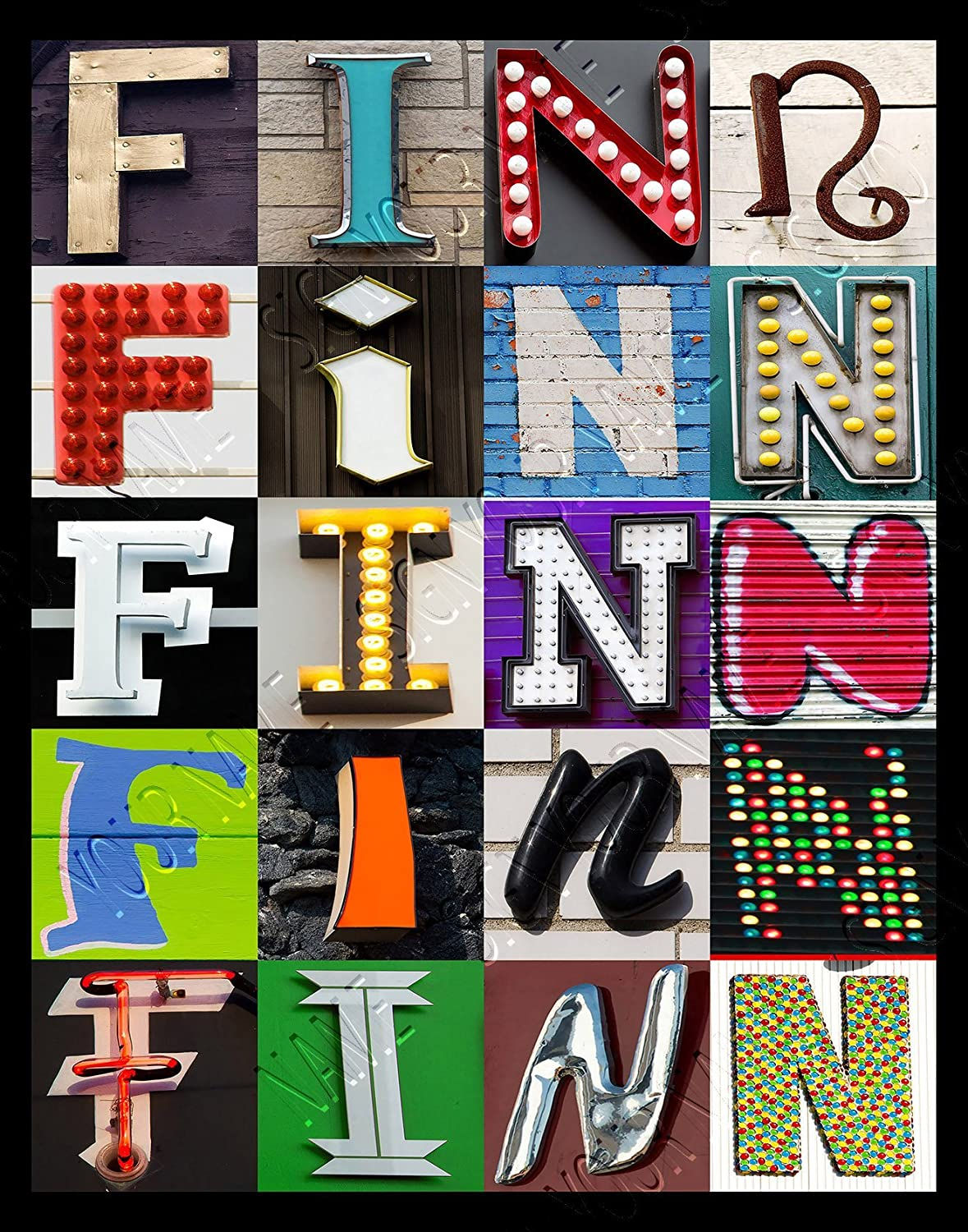 11X14 FINN Personalized Name Poster Using Sign Letters