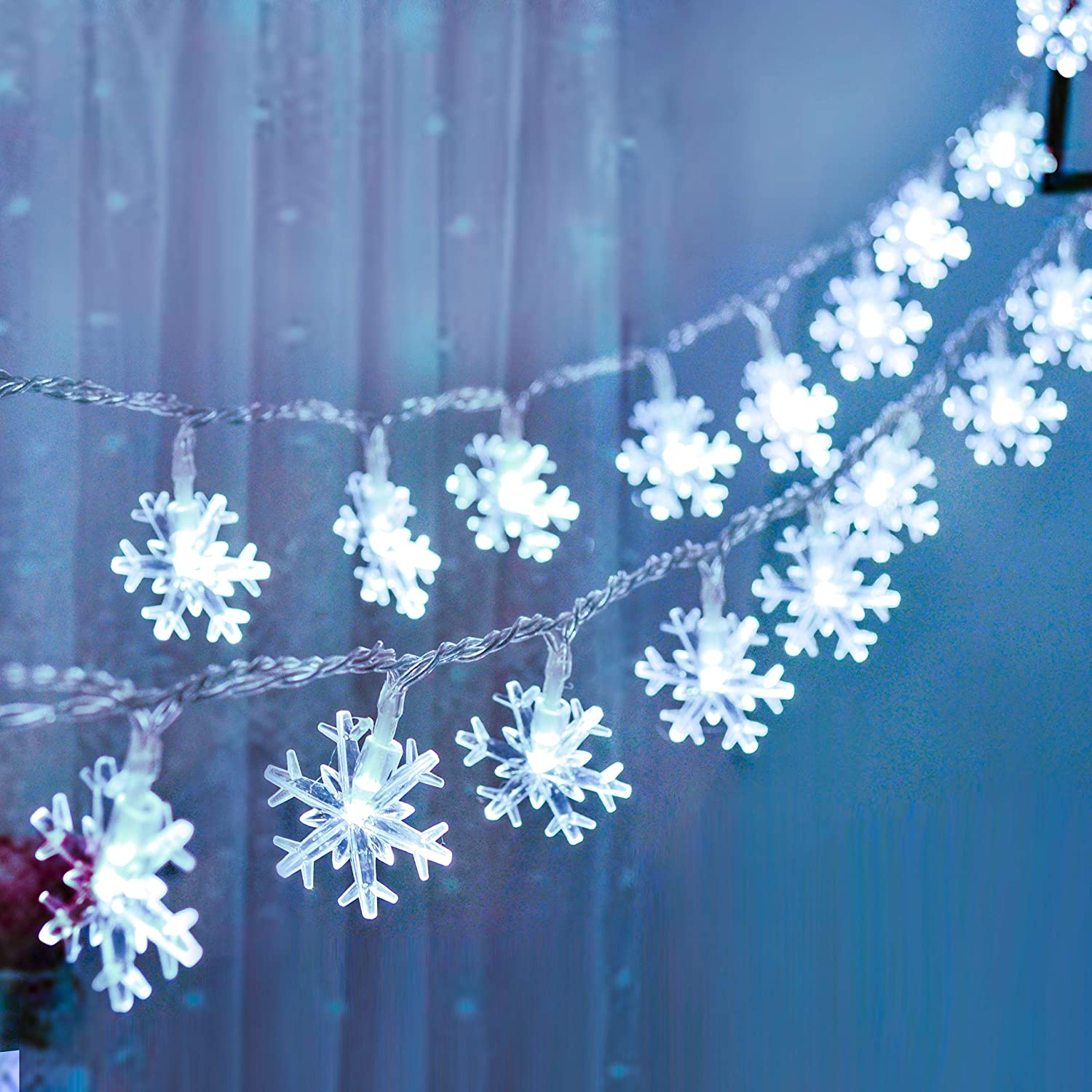 Joiedomi 2 Snowflake Fairy Lights 16ft 40 LED (White) Christmas String Lights Battery Operated Waterproof for Xmas Home Party Wedding Garden Patio Bedroom Indoor Outdoor Decor