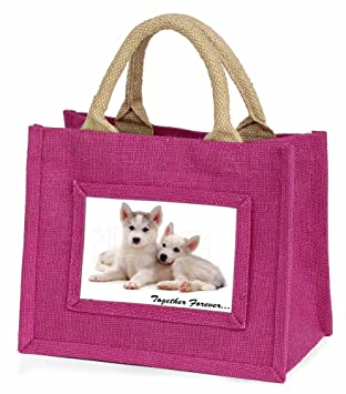 Advanta Mini Pink Jute Tasche Husky Welpen Together Forever