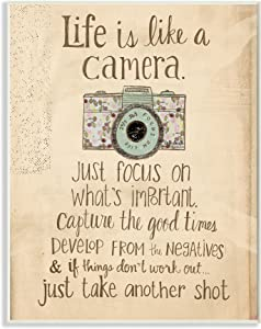 Stupell Industries Life Is Like A Camera Inspirational Oversized Wall Plaque Art, 12.5 x 0.5 x 18.5, Multi-Color