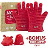 2 Silicone Heat Resistant Gloves + 2 Mini Mitts for Cooking, Grill, BBQ , Baking, Smoking & Potholder - 4rk Non Heat Pack - FDA Approved and BPA Free