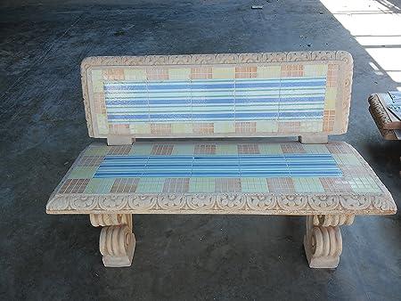 Panchina In Cemento Con Mosaico Panca Misure 130x75 H77 Cm