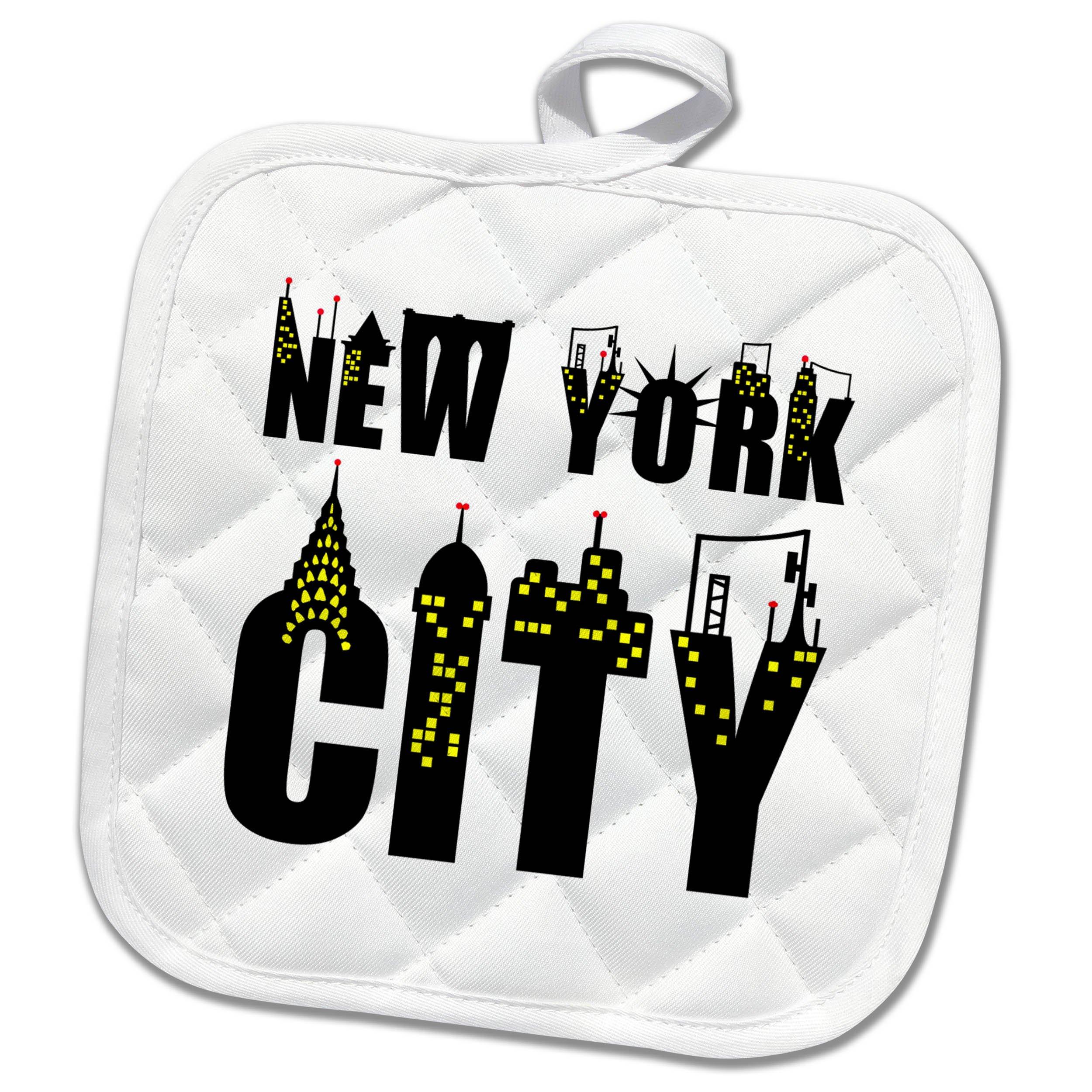 3dRose Alexis Design - American Cities - Decorative text New York City, landmarks, shining windows on white - 8x8 Potholder (phl_286456_1)