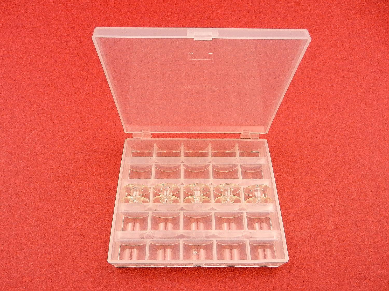 Transparente Spulendose Spulenbox für 25 Nähmaschinenspulen und 5 CB ...