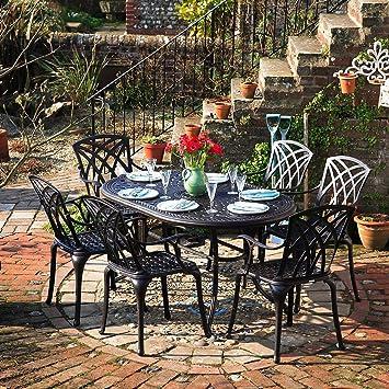 Amazon.de: Lazy Susan - JUNE 150 x 95 cm Ovaler Gartentisch mit 6 ...