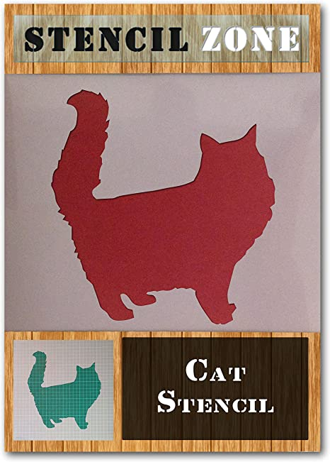 Cat Furry Standing Fluffy Animal Mylar Airbrush Painting Wall Art Crafts Stencil