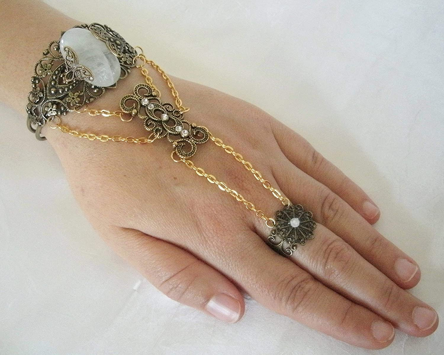 Angel Wings Thumb Hand Chain Thumb Slave Bracelet Rare Antique Gem Slave Bracelet Boho Bracelet Gold Feather Ring Harness Bohemian Bracelet