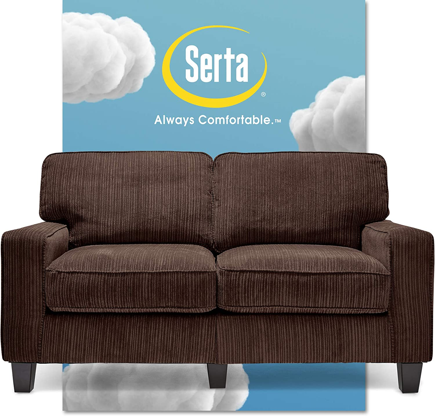 "Serta Palisades Upholstered Sofas for Living Room Modern Design Couch, Straight Arms, Soft Fabric Upholstery, Tool-Free Assembly, 61"" Loveseat, Brown"