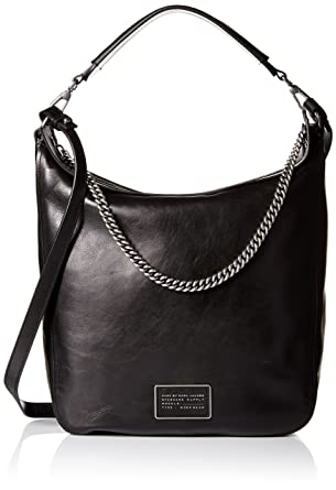 Amazon.com: Marc by Marc Jacobs Top Of The Chain Hobo Bag, Black ...